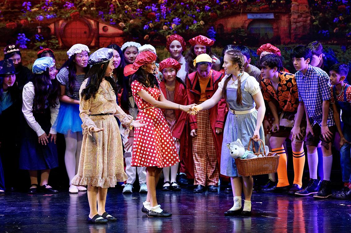 Dorothy meets Munchkin townsfolk