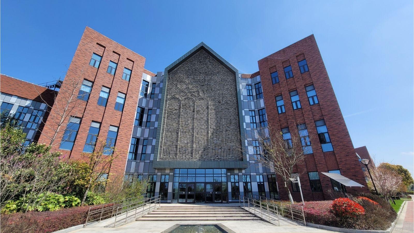 Shanghai Puxi campus with flower patterns in bricks