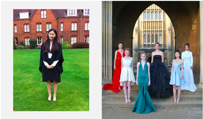 左图: 剑桥大学的毕业照 右图: 剑桥慈善时装秀 (左数第五位)