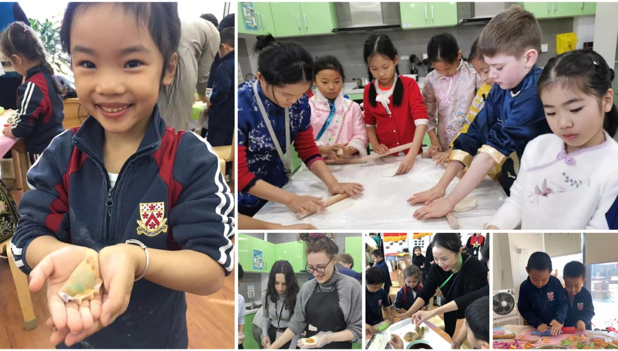 Students making dumplings