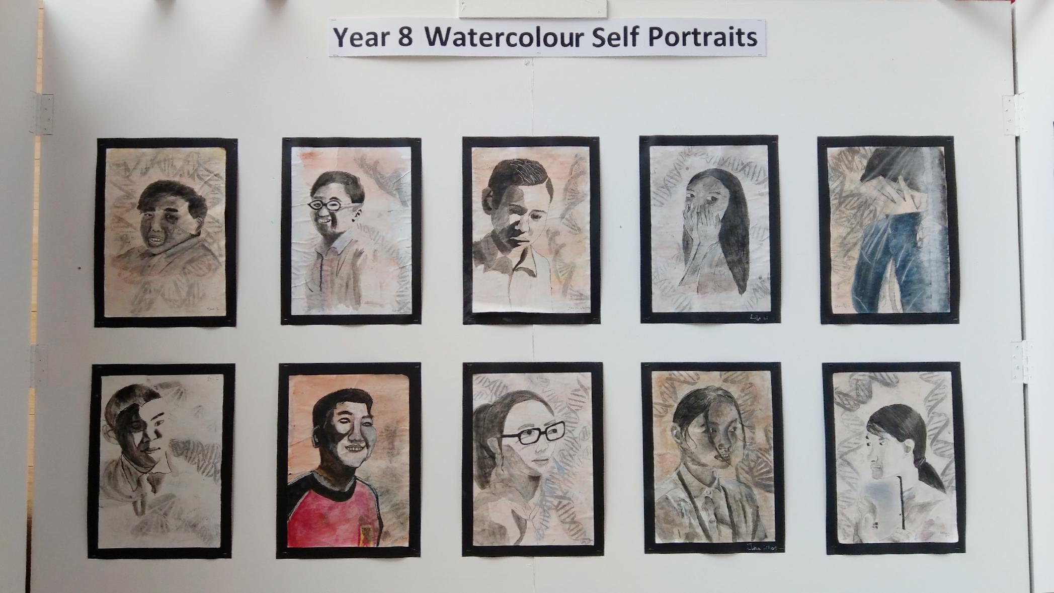year-8-water-color-self-portraits-北京德威英国国际学校