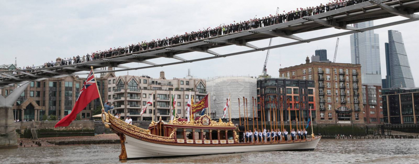 Dulwich College 400 years celebration on the Queen's rowbarge on River Thames